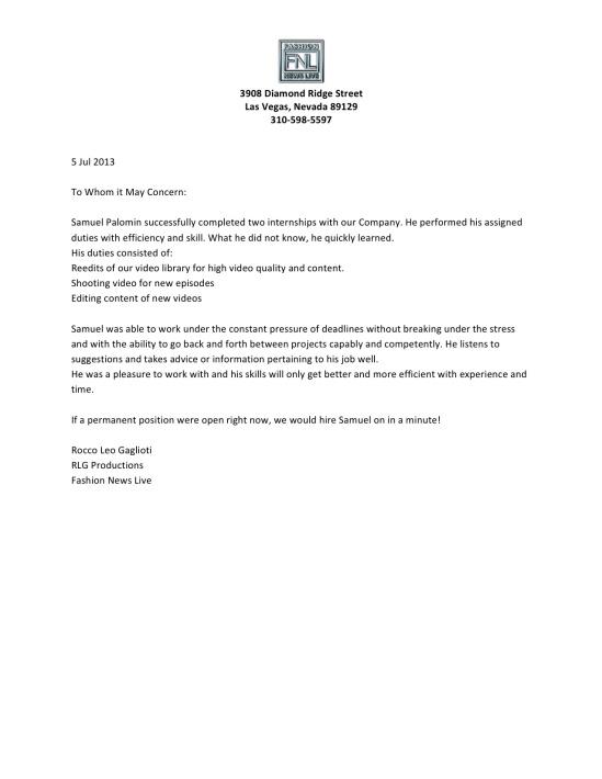 Sam Palomin reference letter